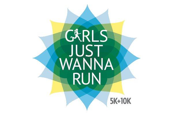 An image shows a logo for Girls Just Wanna Run.