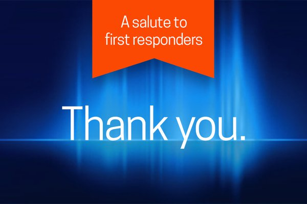 """An image shows """"thank you"""" in relation to the Salute to First Responders."""