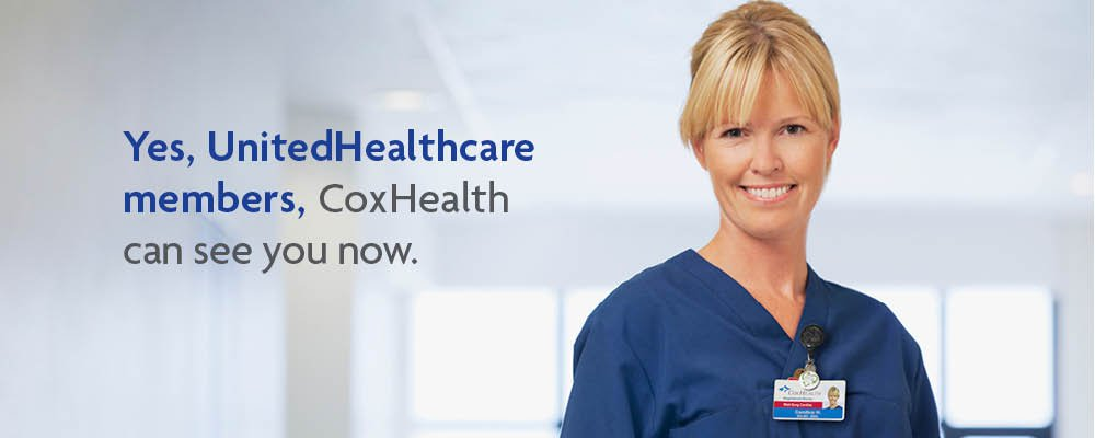"""A CoxHealth nurse smiles next to text that says """"Yes, UnitedHealthcare members, CoxHealth can see you now."""""""