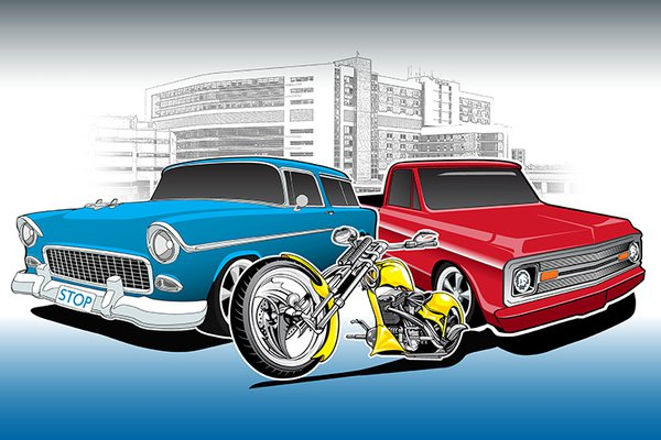 An illustration shows a car, a truck and a motorcycle.
