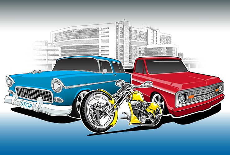 A car and bike are on display at the CoxHealth Car and Bike show.