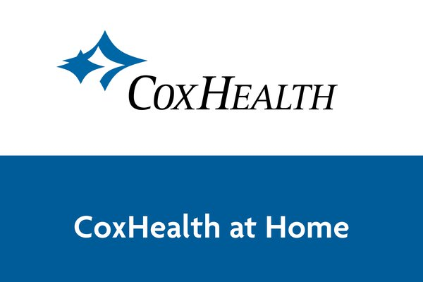 """An image shows the text """"CoxHealth at Home"""" and the CoxHealth logo."""