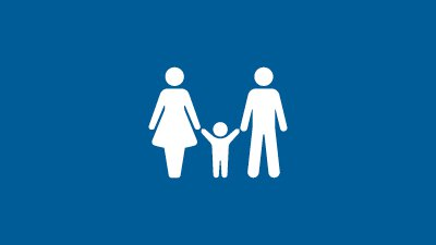 A clip art graphic of a family holding hands