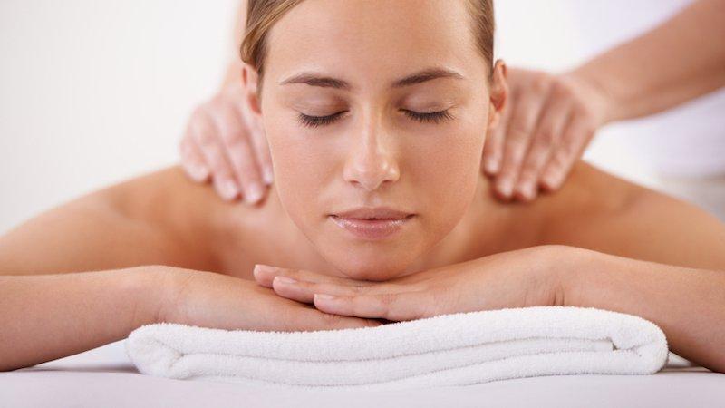 A woman receives a massage.
