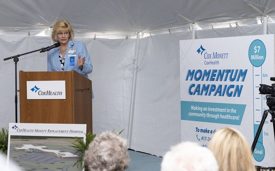 CoxHealth Foundation President Lisa Alexander speaks at the groundbreaking ceremony