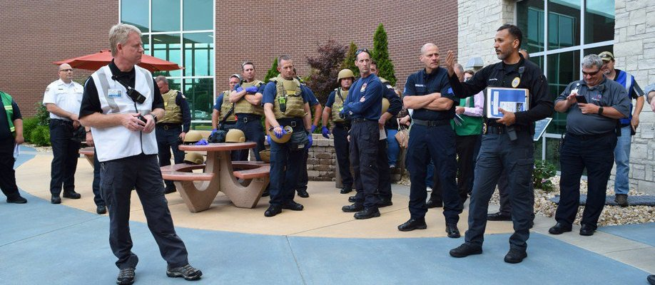 The CoxHealth security team stands outside in preparation for an active shooter drill.