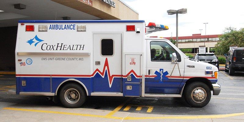 A parked CoxHealth ambulance