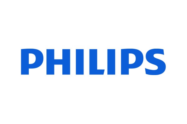 Philips logo is blue.