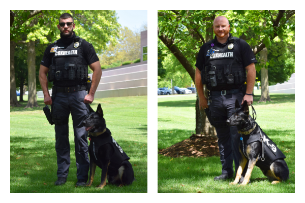 An image shows CoxHealth K9 officers and handlers.