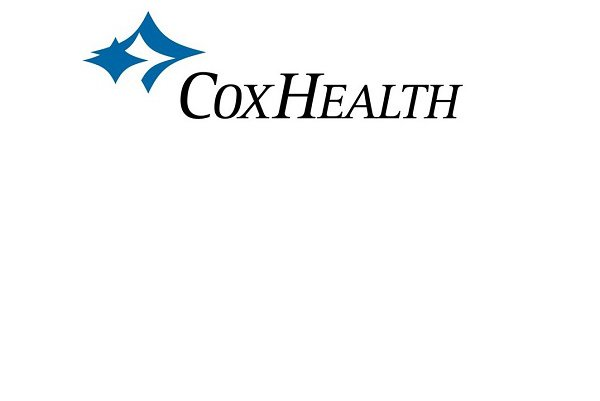 CoxHealth's logo is blue, black and white.