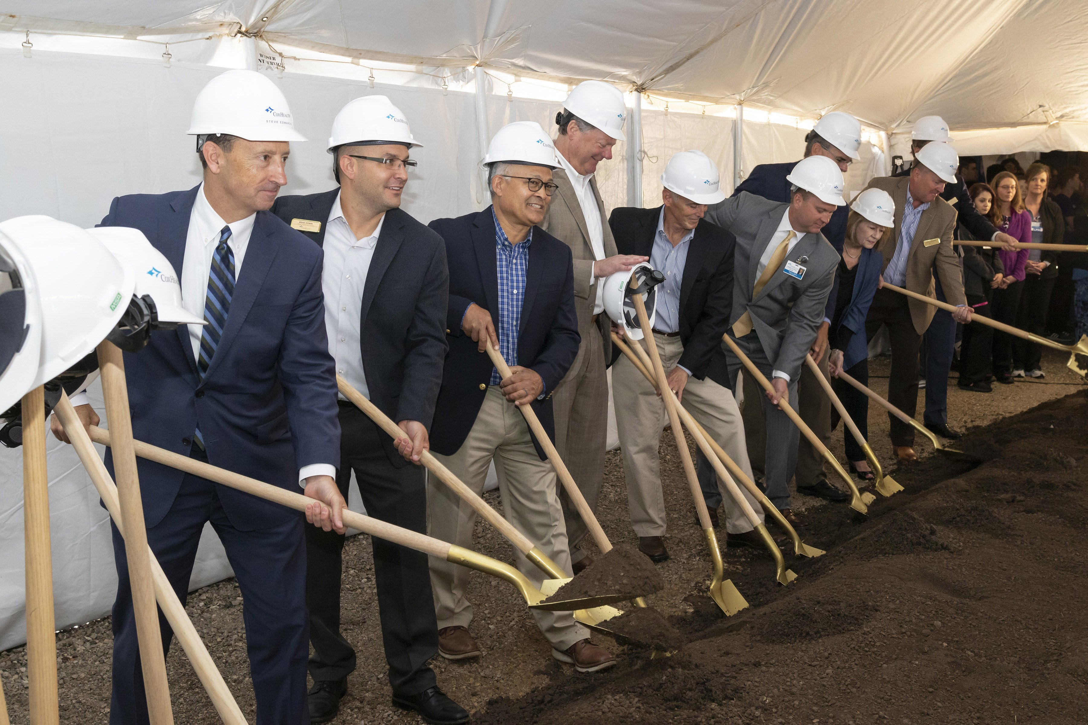 Members of the CoxHealth Board of Directors broke ground on the new Cox Monett Hospital.