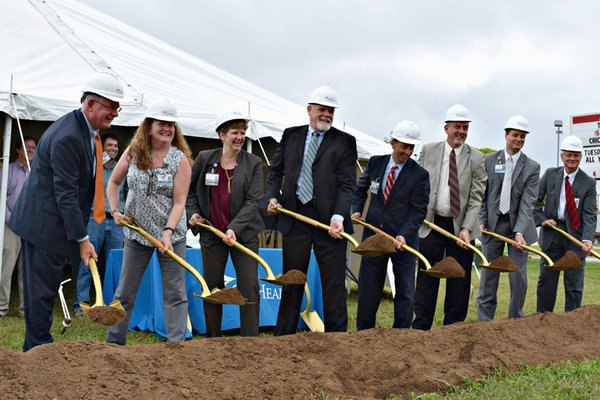 CoxHealth and Marshfield representatives ceremonially break ground on the new CoxHealth Center Marshfield, which is slated to be complete in the spring of 2017.