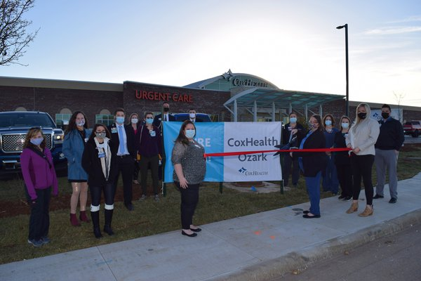 An image shows a ribbon cutting for CoxHealth Ozark.