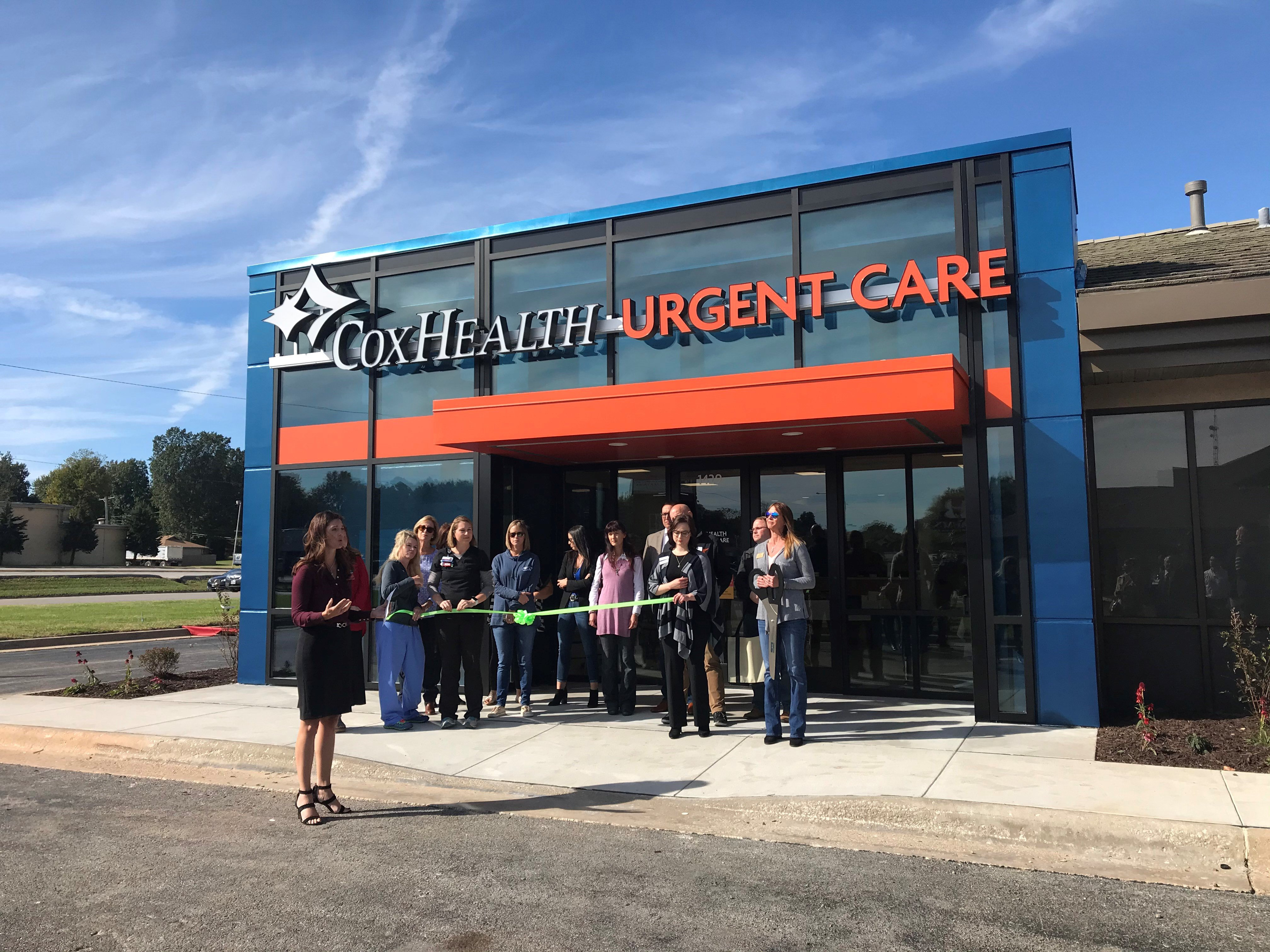 A photo shows the ribbon cutting at CoxHealth Urgent Care.