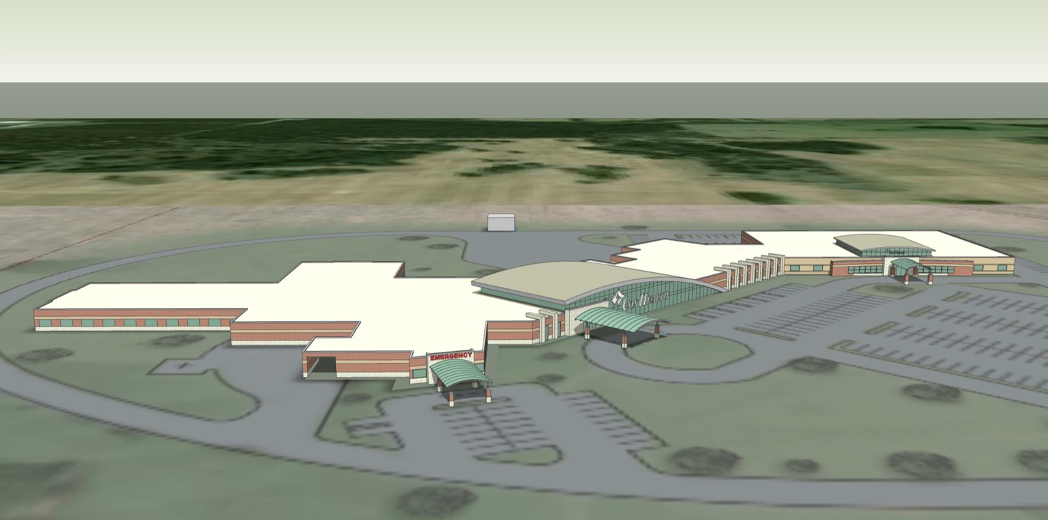 A rendering shows the design of the new Cox Monett Hospital.
