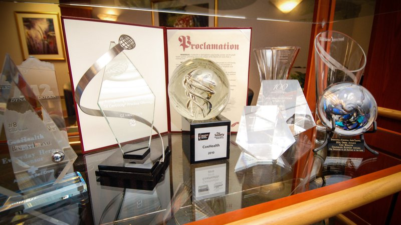 CoxHealth displays many trophies and awards.