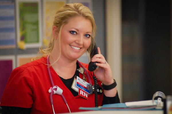 Cox Health nurse on phone