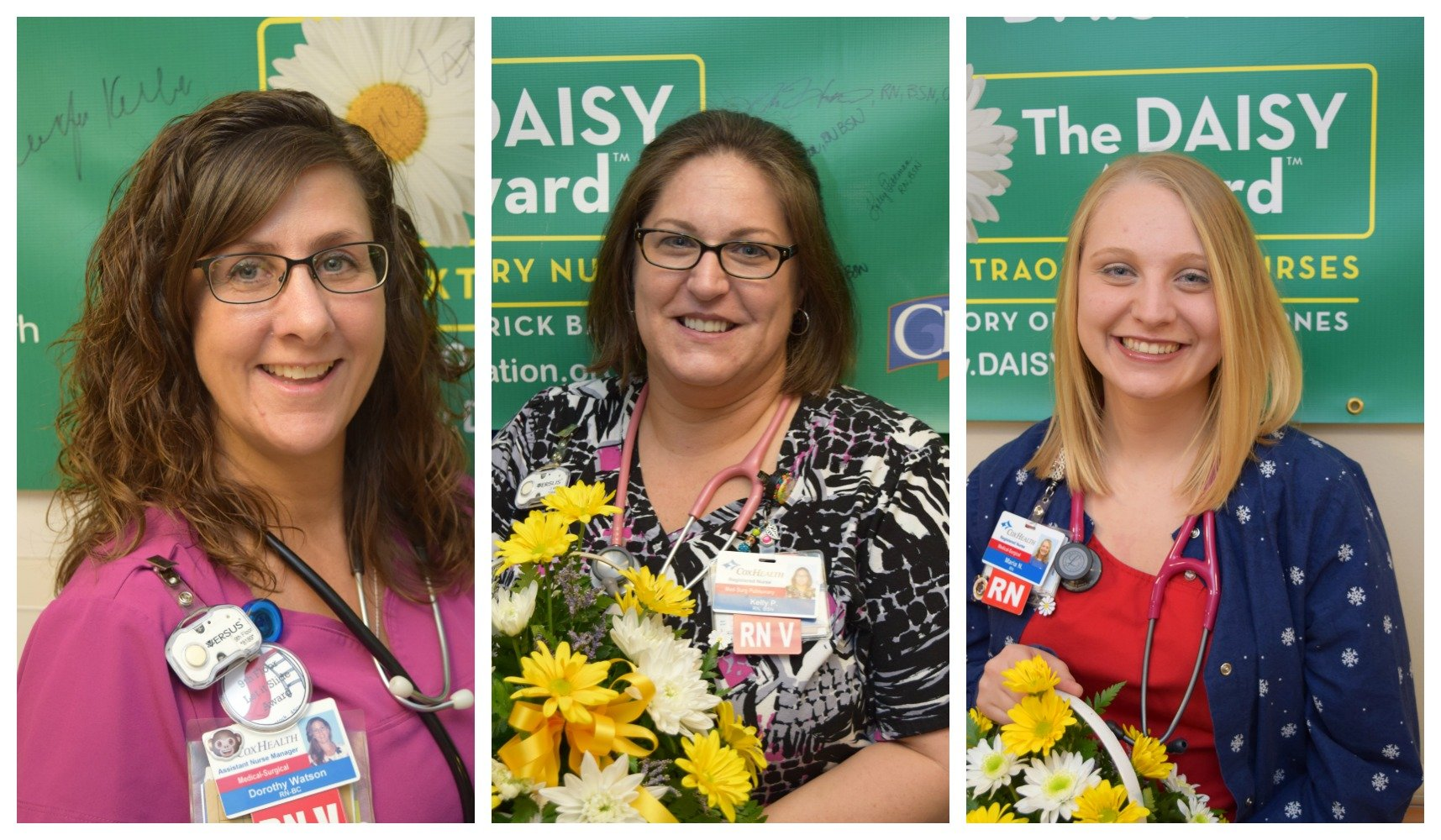 Springfield nurses winning DAISY awards pose for pictures.