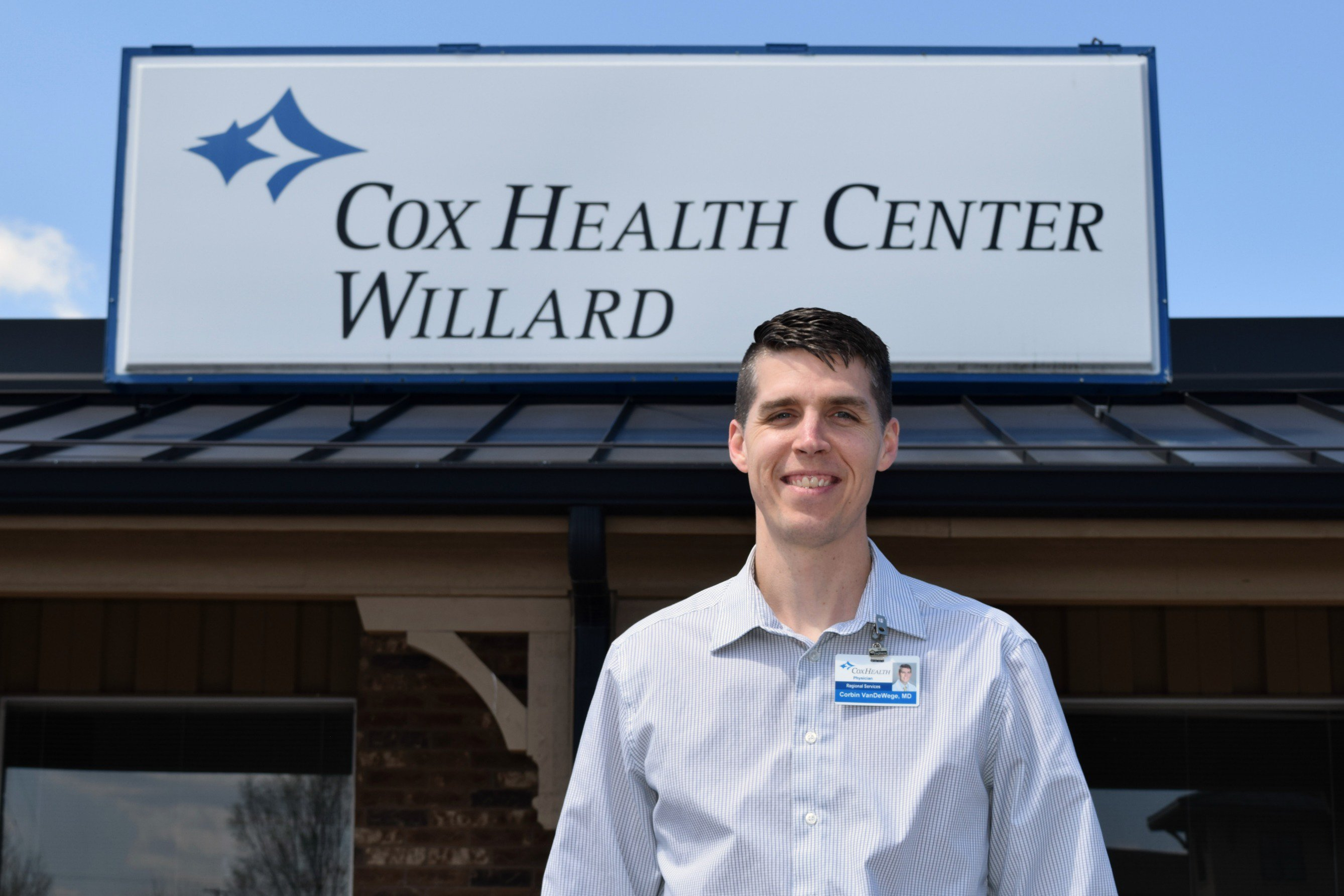 Corbin VanDeWege stands outside CoxHealth Center Willard