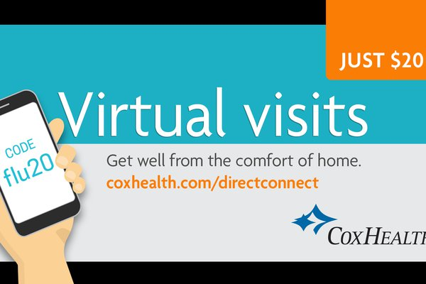 An image advertises CoxHealth's FLU20 promotion, which offers virtual visits for $20.