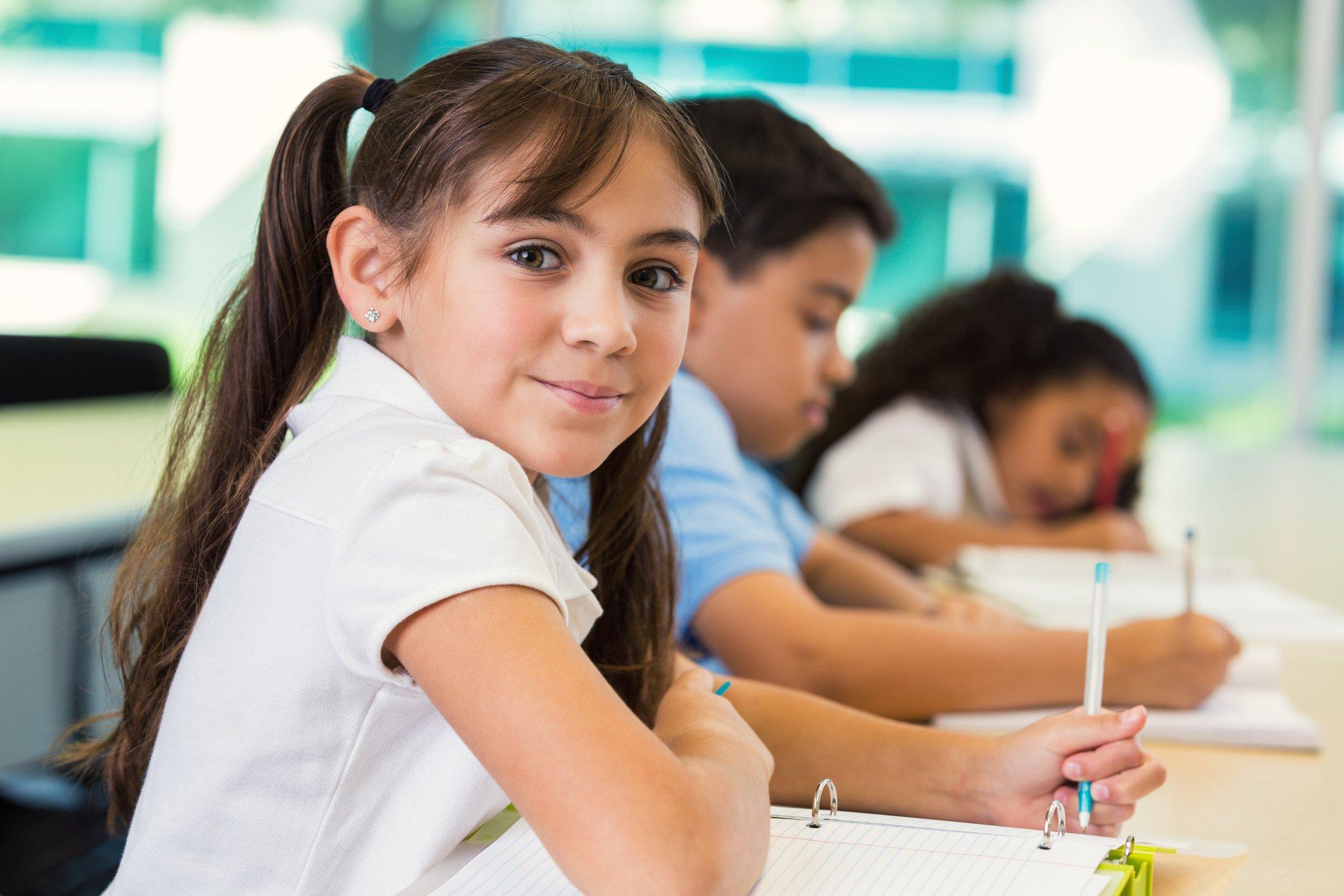 Children study at desks in school.