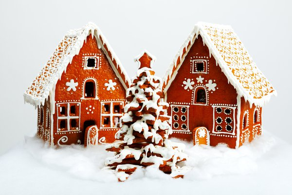 A photo shows two gingerbread houses.