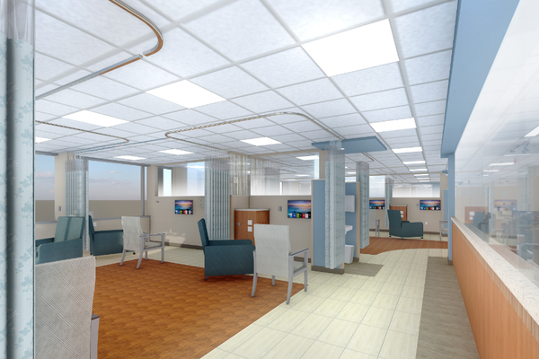 A rendering shows part of the new infusion center.