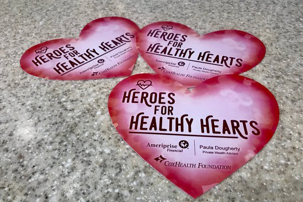 A photo shows paper hearts for sale during Heroes for Healthy Hearts.