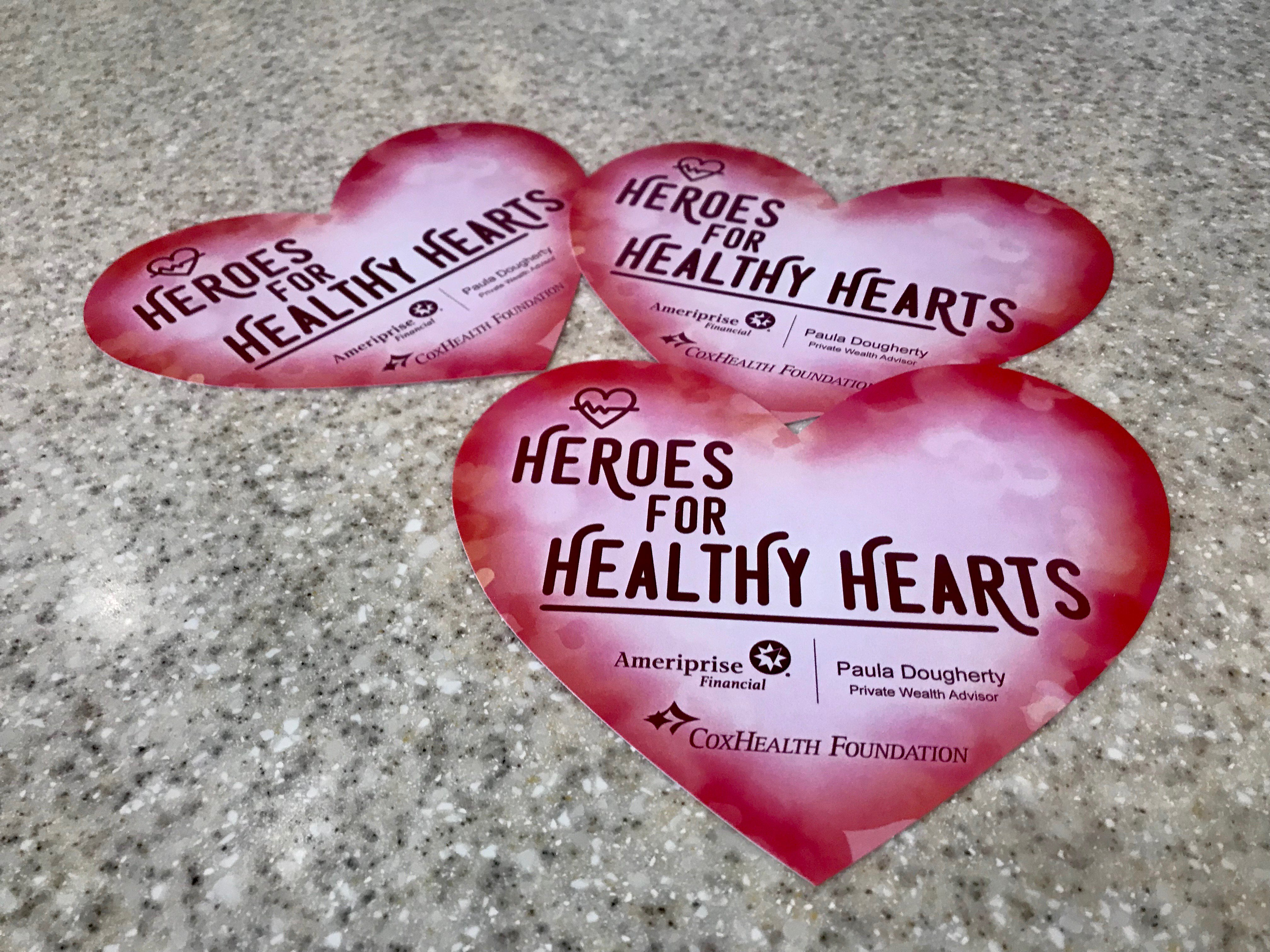 A white logo tells of the new Heroes for Healthy Hearts initiative.