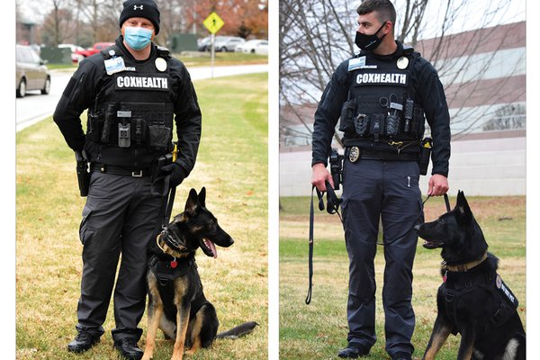 An image shows both of CoxHealth's new K9 officers and their handlers.