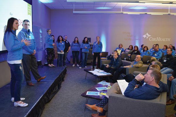 A team presents at a previous CoxHealth Innovation Accelerator.