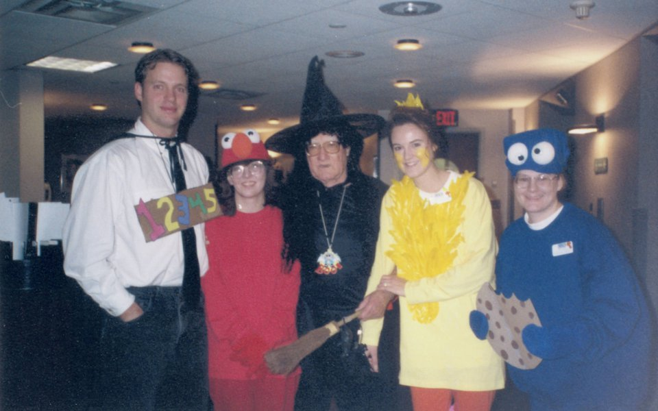 Neil Wortley and employees on Halloween