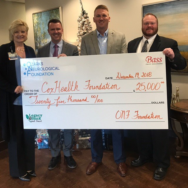 ONF recently made a check presentation to the CoxHealth Foundation.
