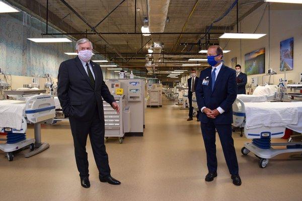 Missouri Governor Mike Parson visits COVID-19 unit