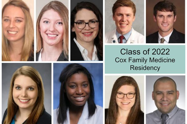 A collage shows the doctors who are in Cox Family Medicine Residency's class of 2022.