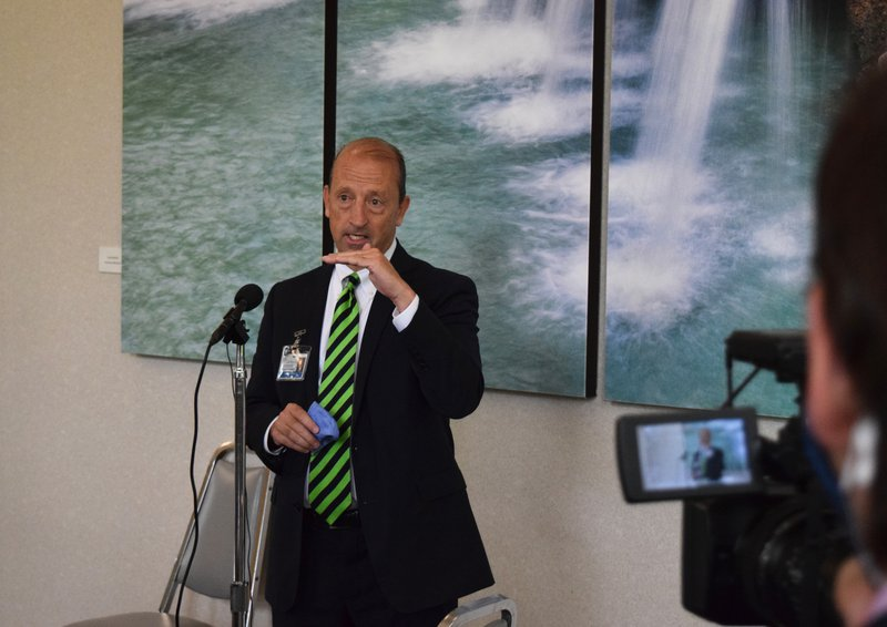President and CEO Steve Edwards addresses media on Tuesday.