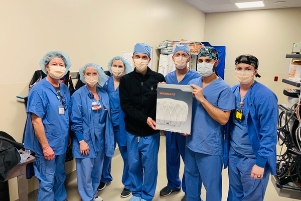 An image shows staff involved in the new Watchman Flx procedure.