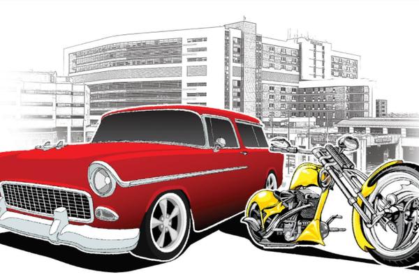 Car and motorcycle cartoon image