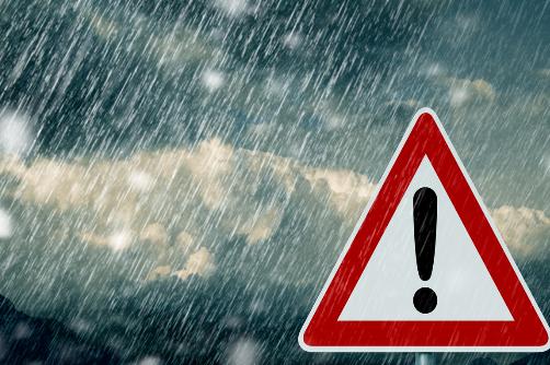 Weather hazard sign.