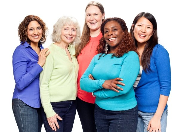 A group of women pose for a photo.
